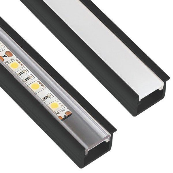 10 x 2m Inline Mini Alumiini Profiili Musta
