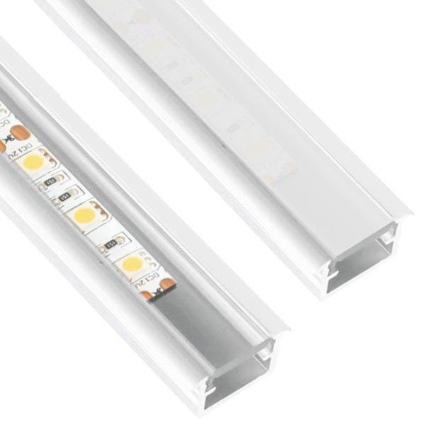 10 x 2m Inline Mini Alumiini Profiili Valkoinen