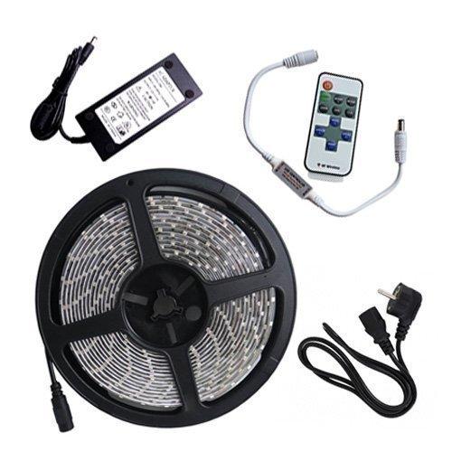 5m LED Nauha 4.8w/m Kaukosäätimellä ja Virtalähteellä Roiskeenkestävä