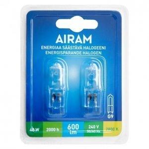 Airam Ecohalogen 40w G9 2 Kpl 370lm Halogeenilamppu