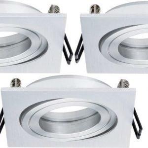 Alasvalojen kehyssetti 2Easy Spot-Set Premium 3 kpl IP23 90x90 mm harjattu alumiini suunnattava