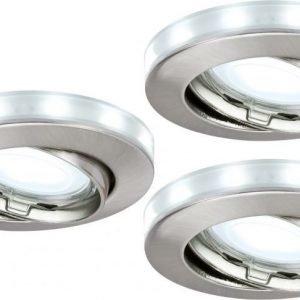 Alasvalosetti LED-tähtirenkaalla 3 kpl GU10 IP23 Ø 83 mm harjattu teräs suunnattava 92649