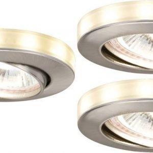 Alasvalosetti LED-tähtirenkaalla 3 kpl GU5.3 IP23 Ø 83x12 mm harjattu teräs suunnattava