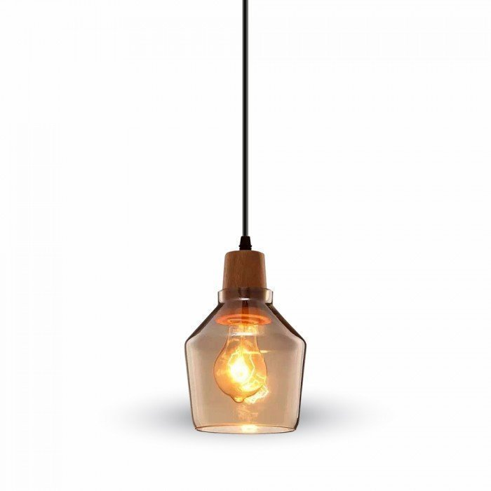 Amber Glass LED Pendant W/Wood 130cm