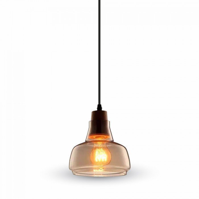 Amber Glass LED Pendant W/Wood 170cm