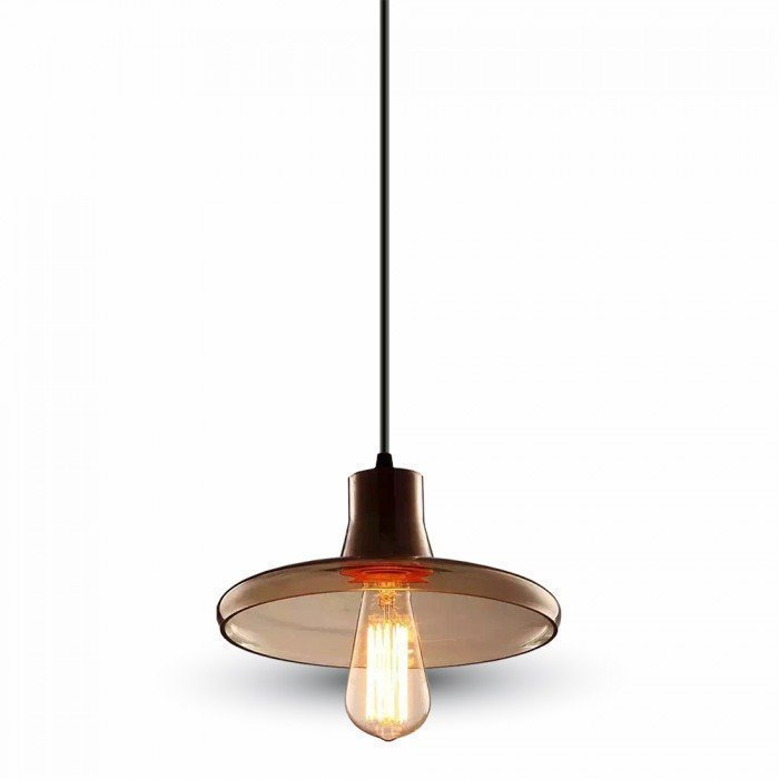 Amber Glass LED Pendant W/Wood 240cm