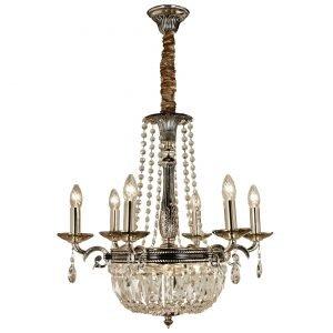 Aneta Royal Kristallikattokruunu Antiikkihopea / Beige 9-Osainen