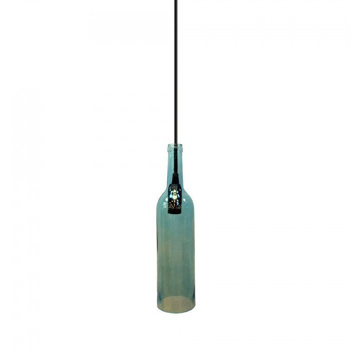 Blue Glass Bottle LED Pendant