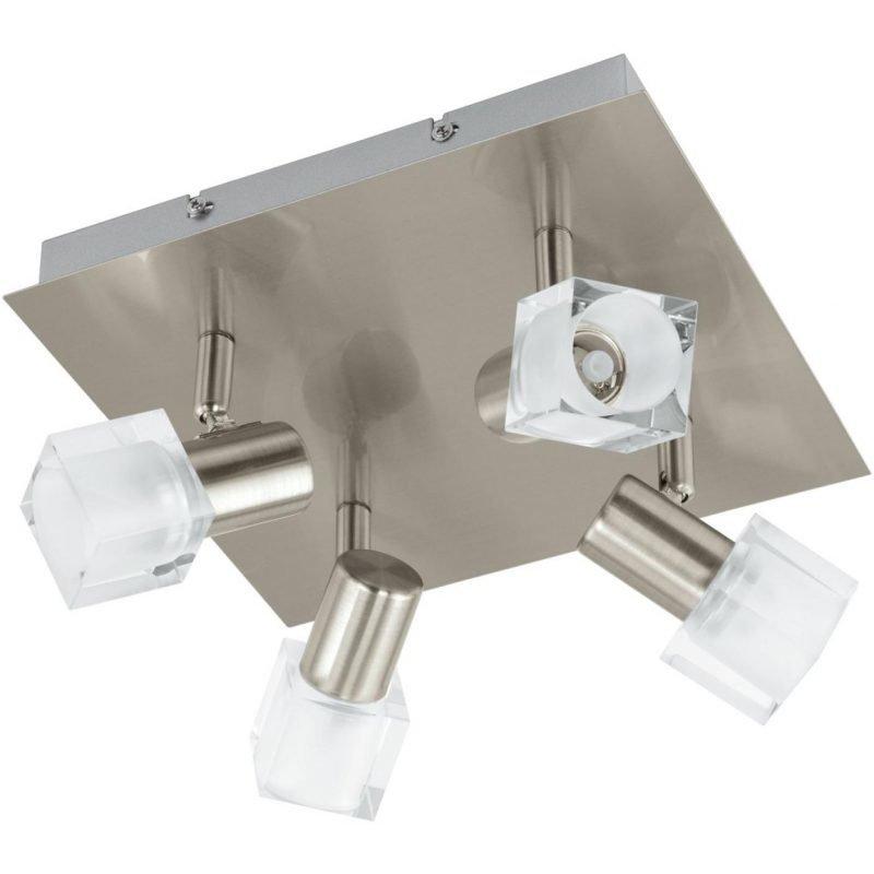 Eglo Kattospotti LED Nocera 4-osainen harjattu teräs kirkas lasi