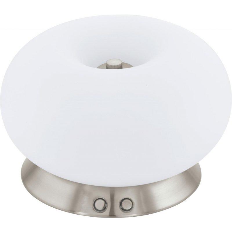 Eglo LED-Pöytävalaisin Optica 3 Ø 28 cm harjattu teräs valkoinen kosketushimmennin