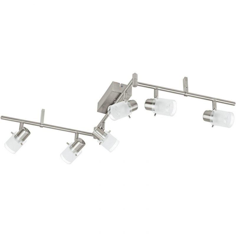 Eglo LED-kattospotti Orvieto 1 6-osainen harjattu teräs kirkas/valkoinen