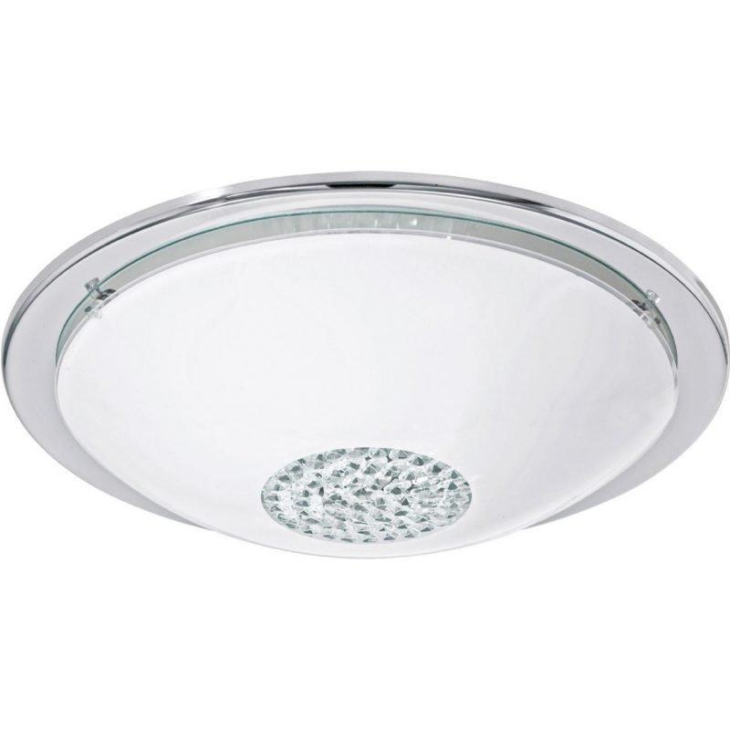 Eglo LED-plafondi Giolina kromireunukset valkoinen kupu kristallisella keskiöllä