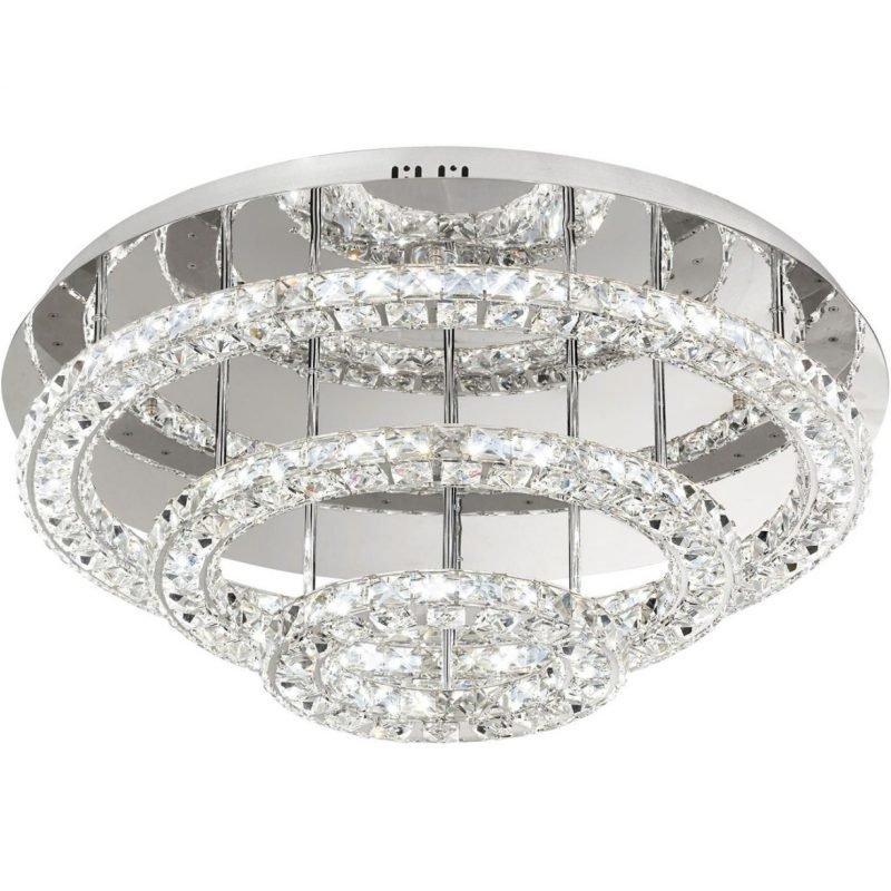 Eglo LED-plafondi Toneria Ø 750x300 mm kromi kristalli