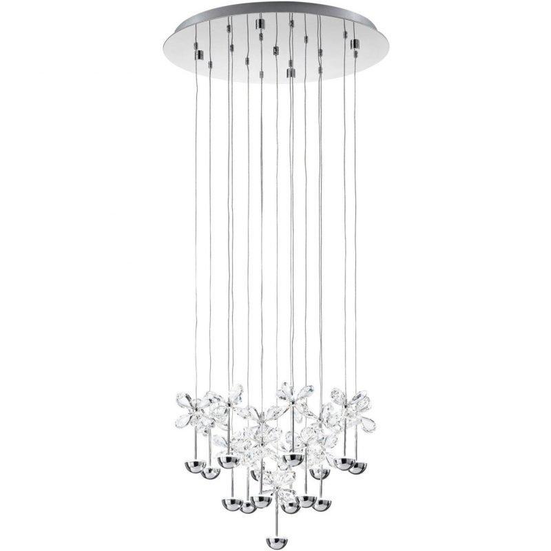 Eglo LED-riippuvalaisin Pianopoli Ø 50 cm kromi kristalli