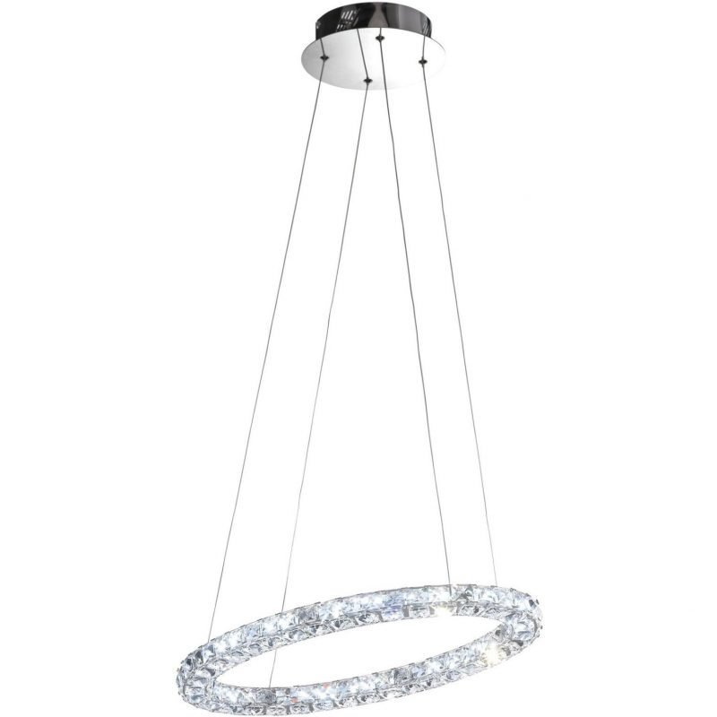 Eglo LED-riippuvalaisin Toneria 60 cm kromi kristalli
