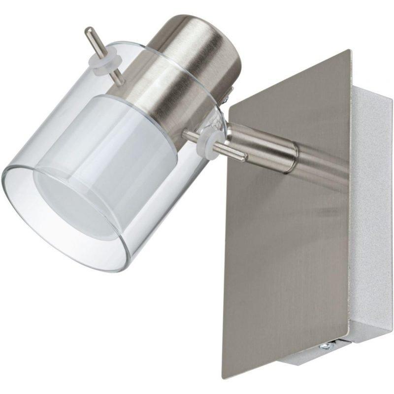 Eglo LED-seinävalaisin Sparano harjattu teräs valkoinen/kirkas lasi