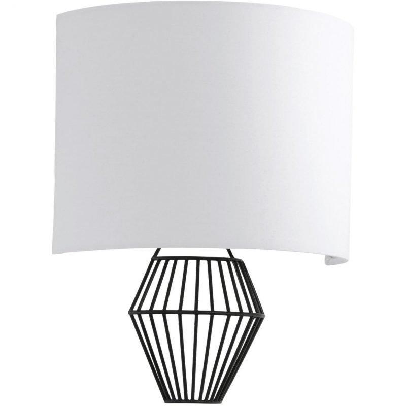 Eglo LED-seinävalaisin Valseno 2-osainen musta valkoinen kangasvarjostin
