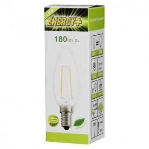 Energy+ Led Lamppu Kynttilä Filamentti 2w E14 180lm Kirkas