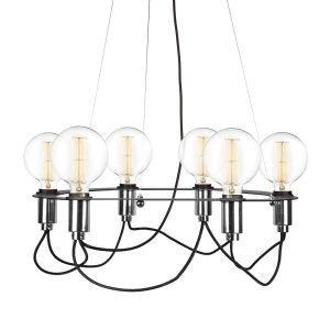 Globen Lighting Cables Kattokruunu Musta / Kromi Ø60 Cm