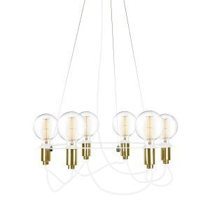 Globen Lighting Cables Kattokruunu Valkoinen / Messinki Ø60 Cm