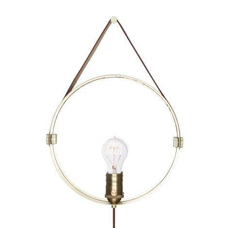 Globen Lighting Hangover Valaisin Ja Peili Messinki-Ruskea Nahka