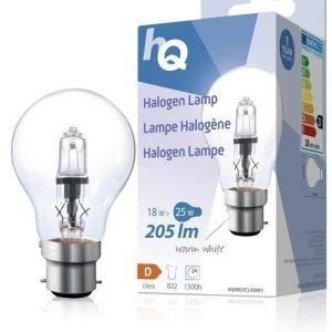 Halogeenilamppu klassinen GLS B22 18 W 205 lm 2800K