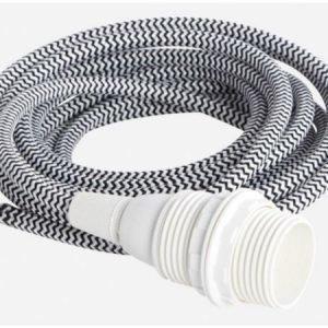 House Doctor valaisimen tekstiilijohto E14 musta-valkoinen