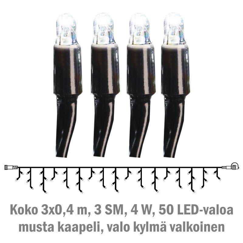 Jääpuikkonauha System LED Extra musta 4W 50 valoa 3x0