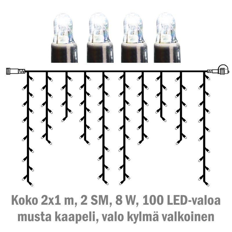 Jääpuikkonauha System LED Extra musta 8W 100 valoa 2x1 m kylmä valkoinen