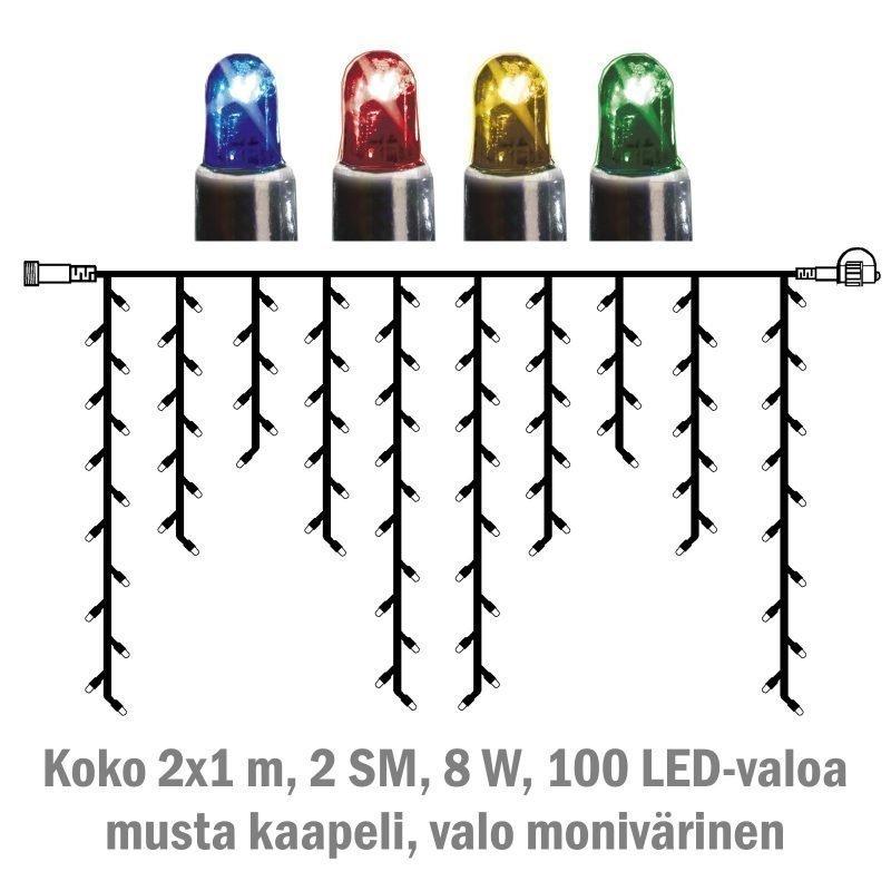 Jääpuikkonauha System LED Extra musta 8W 100 valoa 2x1 m monivärinen