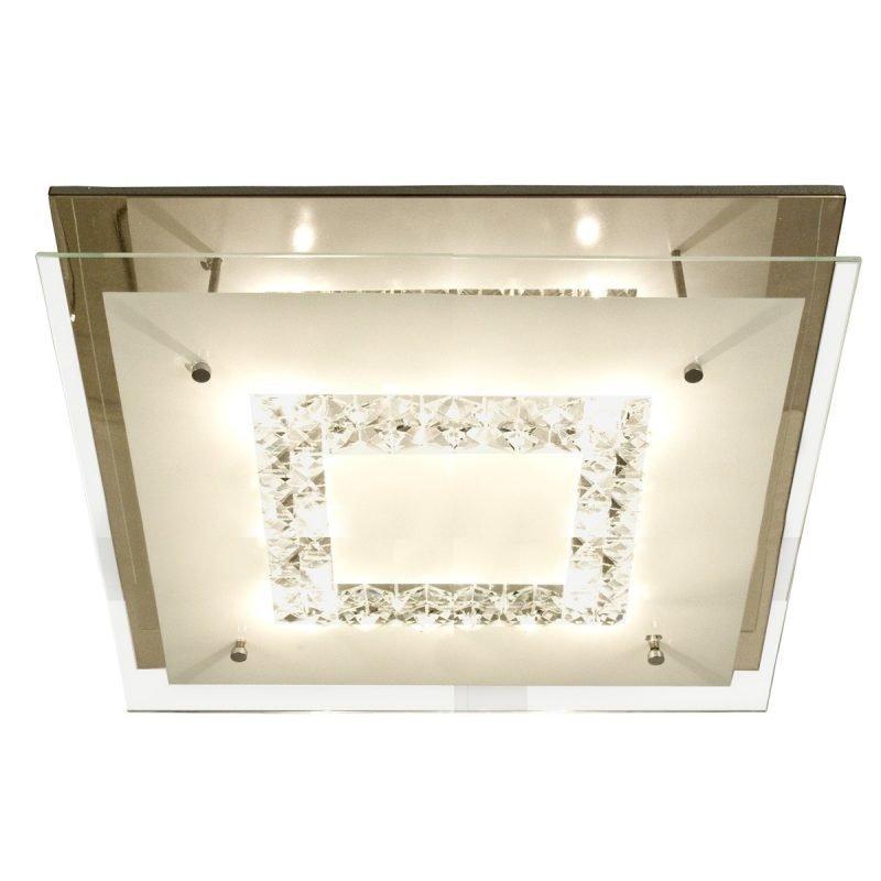 Kattoplafondi Luster 400x400x120 mm kromi/lasi