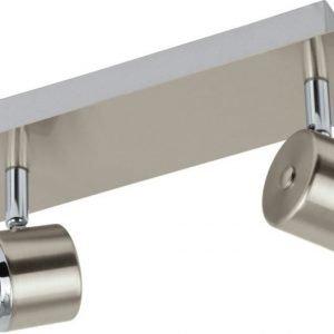 Kattospotti LED Pierino 2-osainen harjattu teräs kromi