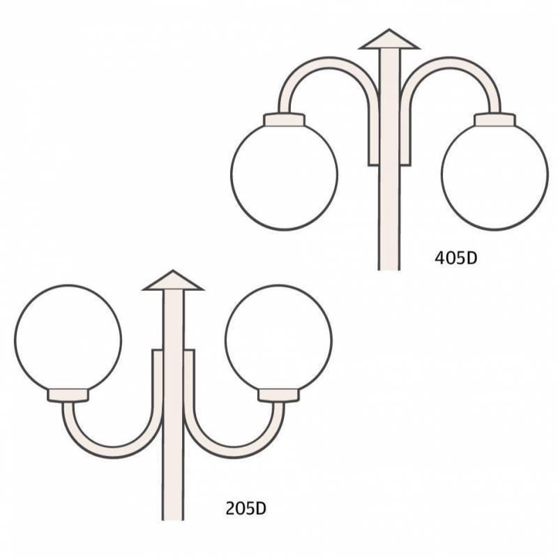 Ketonen Valohelmi Pylväsvalaisin 2-Osainen Musta/Opaali 205/405DMA