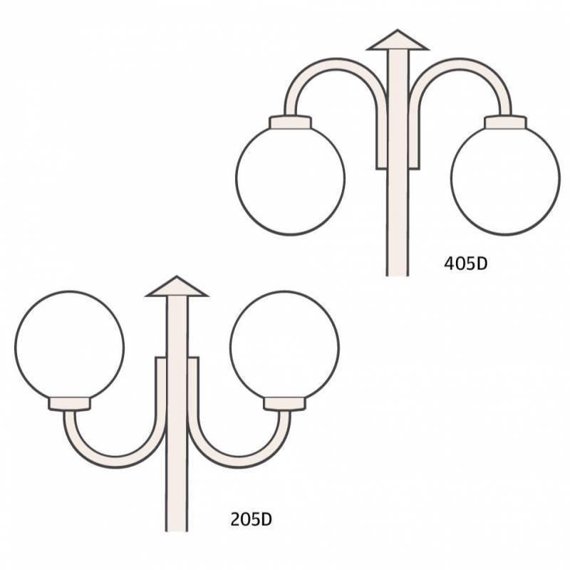 Ketonen Valohelmi Pylväsvalaisin 2-Osainen Valkoinen/Opaali 205/405DVA