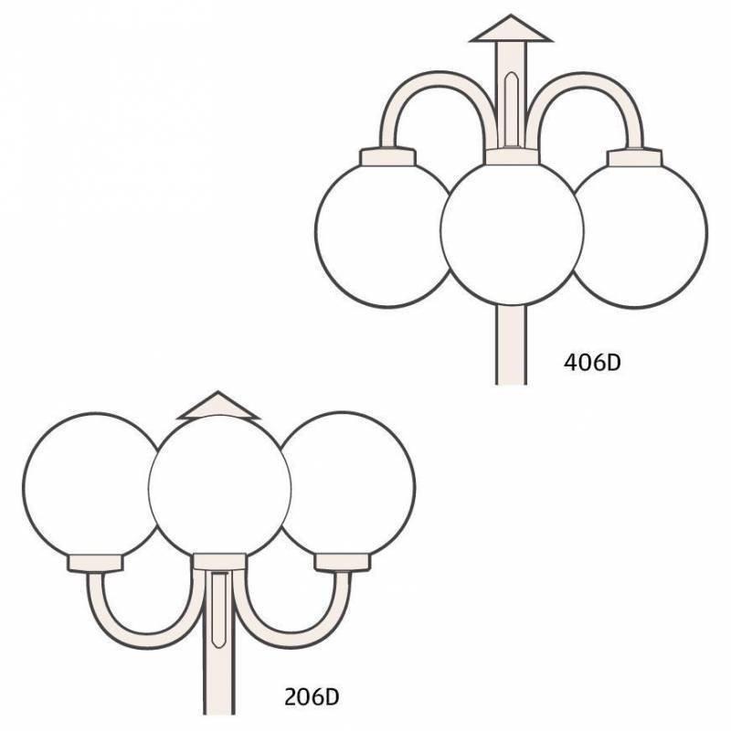 Ketonen Valohelmi Pylväsvalaisin 3-Osainen Musta/Opaali 206/406DMA