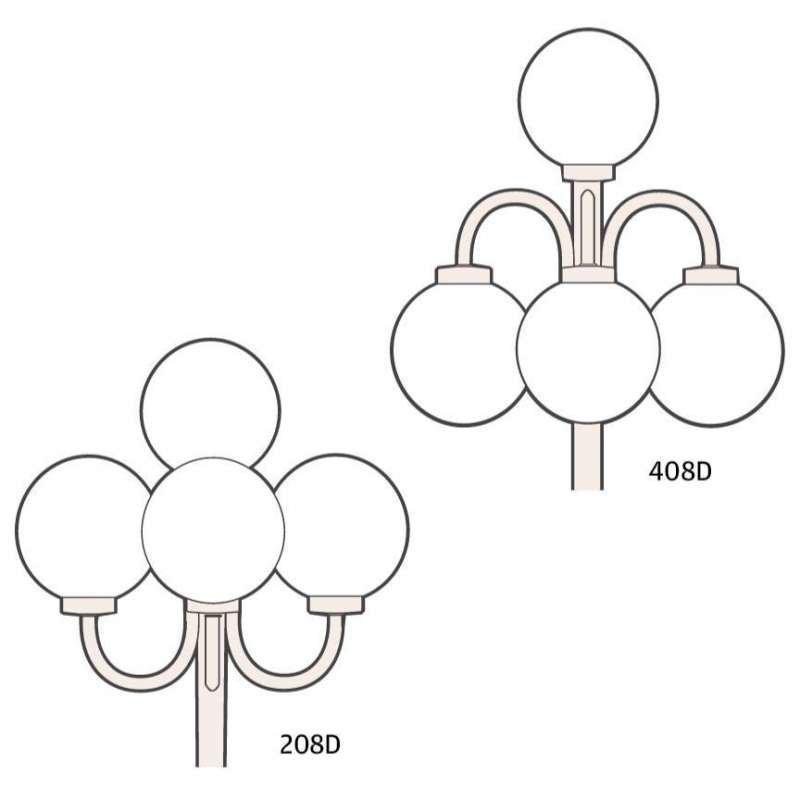 Ketonen Valohelmi Pylväsvalaisin 4-Osainen Musta/Opaali 208/408DMA