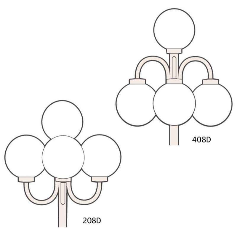 Ketonen Valohelmi Pylväsvalaisin 4-Osainen Valkoinen/Opaali 208/408DVA