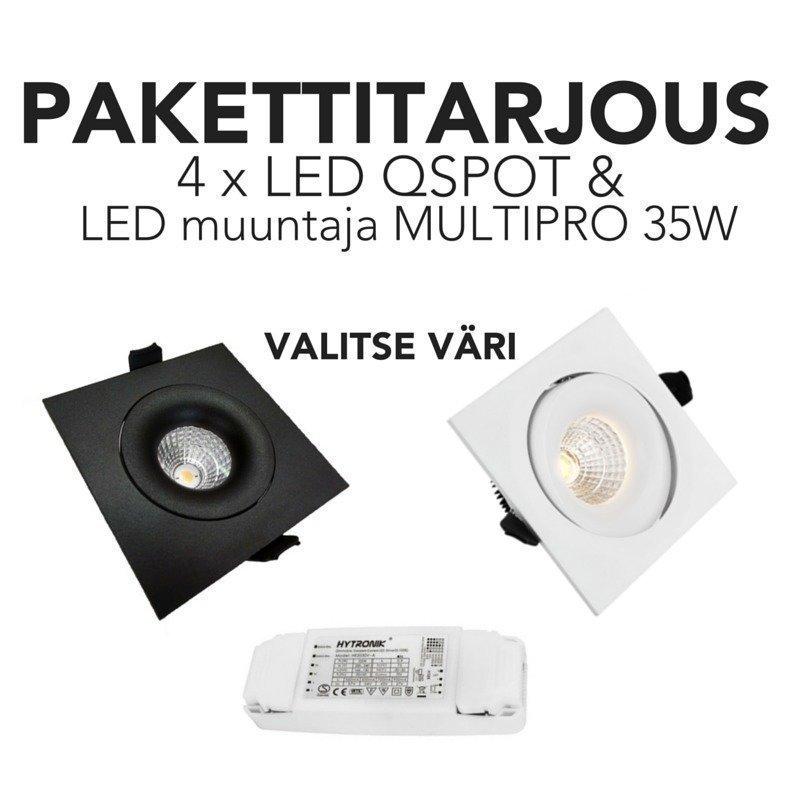 LED QSPOT kohdevalopaketti 4 kpl himmennettävä