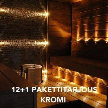 LED Saunavalosarja 12-osainen KROMI + 1kpl KiuasLED