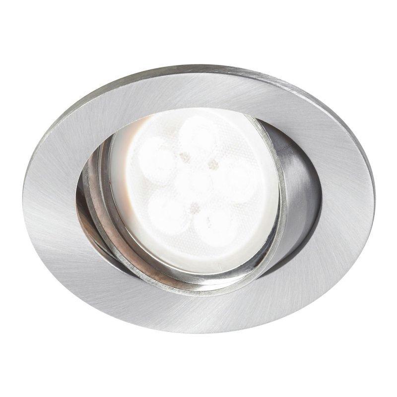 LED-alasvalo Inset Trend Swing 6W GU10 IP23 30° Ø 83x85 mm himmennettävä harjattu alumiini