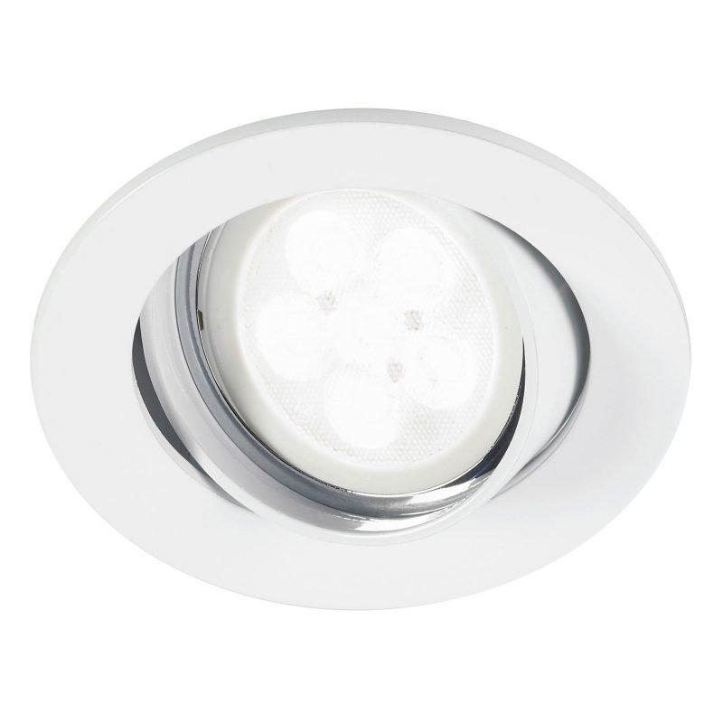 LED-alasvalo Inset Trend Swing 6W GU10 IP23 30° Ø 83x85 mm himmennettävä valkoinen