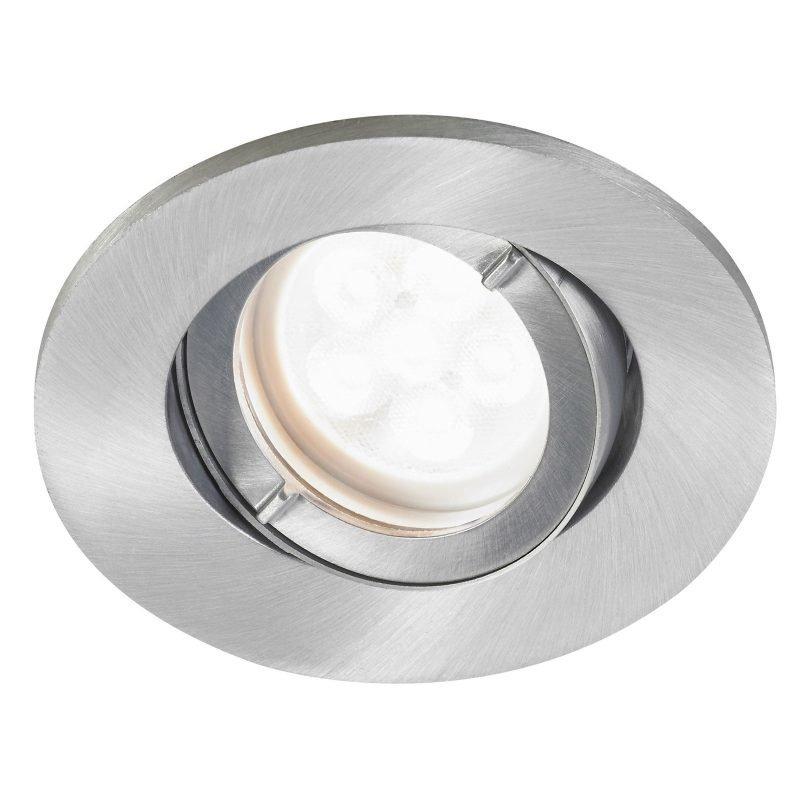LED-alasvalo Inset Trend Swing 6W GU10 IP44 25° Ø 95x100 mm himmennettävä harjattu alumiini