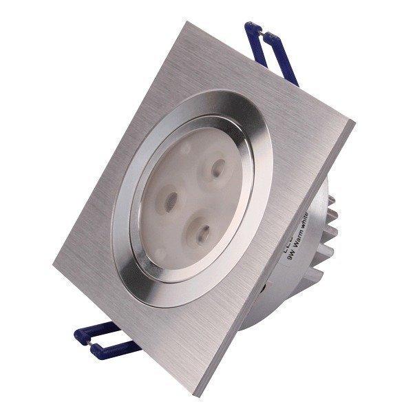 LED-alasvalo LED-SQ033 9W 600lm 95x95x45 mm suunnattava harjattu alumiini