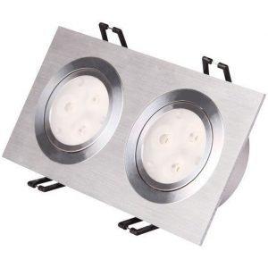 LED-alasvalo LED-SQ233 2x9W 2x600lm 190x95x50 mm suunnattava harjattu alumiini