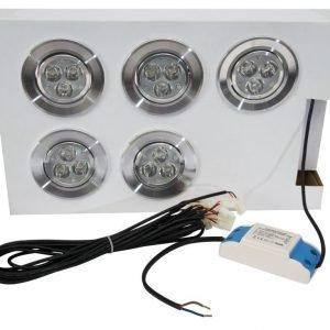 LED alasvalosarja BASIC 5 x 3W silver