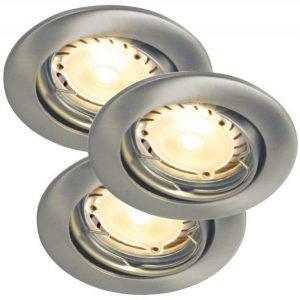 LED-alasvalosarja Recess 3-Kit LED Hi-Power Ø 80x100 mm 3 kpl harjattu teräs