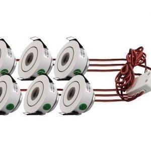 LED-alasvalosetti LED-097 6x3W 6x200lm Ø 51x30 mm suunnattava valkoinen