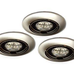 LED-alasvalosetti One Light 11105GU3/MC/W GU10 3x4W Ø 85x95 mm suunnattava harjattu teräs