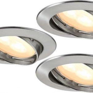 LED-alasvalosetti Premium Line 3x3W Ø 83 mm 3 kpl harjattu teräs