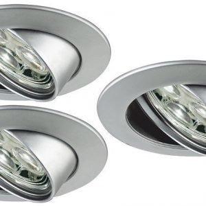 LED-alasvalosetti Premium Line 3x3W 6500K Ø 83 mm suunnattava mattakromi